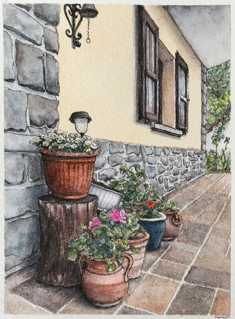 Painting of pots at the front door by Marion