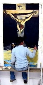 Pheona painting Salvador Dali's 'Christ on the Cross'