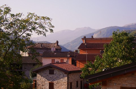 View from balcony over the village and towards the Appennine mountains