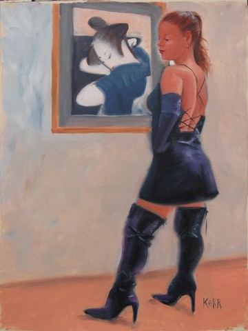 girl with black boots and geisha painting