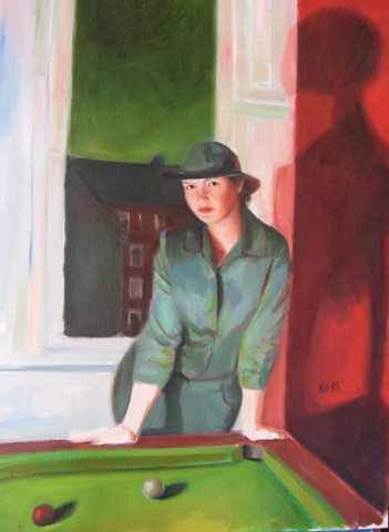 girl at pool table