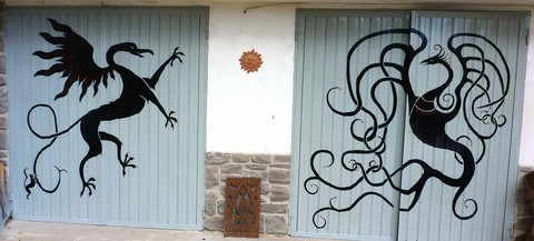 garage doors with celtic animals